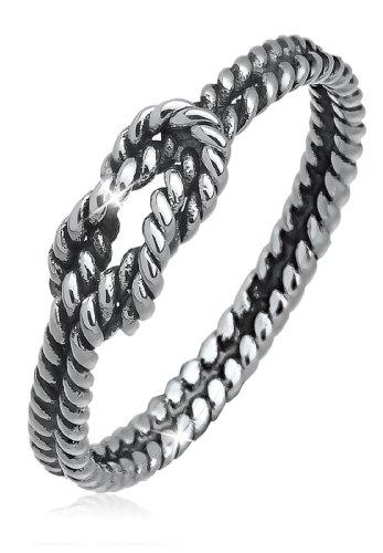 Elli Damen-Motivring, Knoten 925 Sterling Silber 0604972213_54 (Silber Geschwärzter Sterling)
