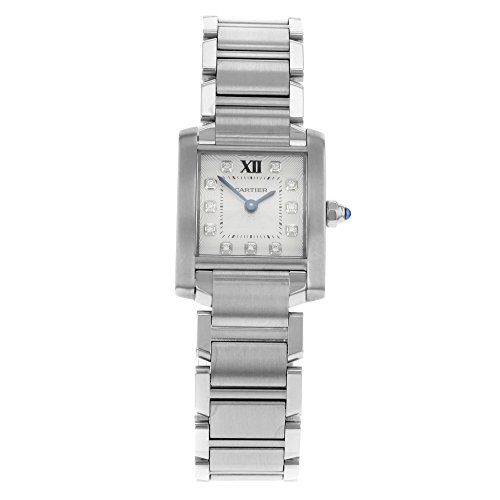 Cartier Tank Francaise WE110006 originale diamante quadrante orologio da...