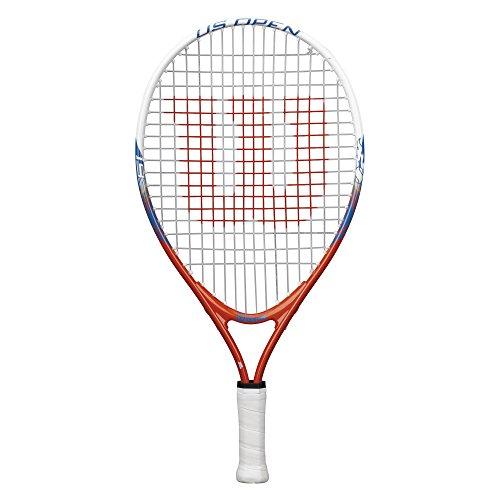 Wilson Raqueta de tenis para niños, Medida 2-4 años, Para juegos en todas las áreas, US Open 19, Naranja/Blanco/Azul Para jugar en todas las áreas, Para principiantes, US OPEN 19, Medida fino a 5 años, Naranja/Blanco/Azul, WRT21000U