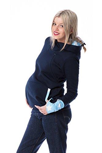 GoFutureWithLove - Robe spécial grossesse - Manches Longues - Femme Marine mit weißgrauen Sternen auf hellblau