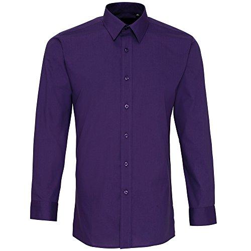 Premier - Camicia da lavoro manica lunga taglio in figura - Uomo Grigio scuro