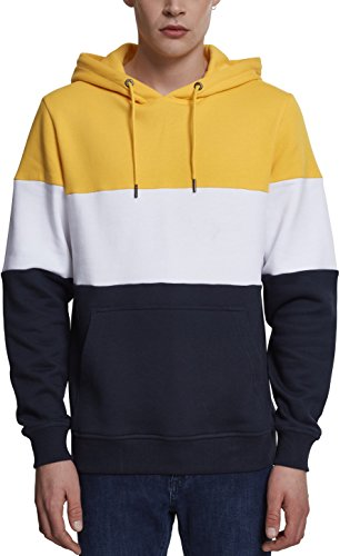 Urban Classics Herren Kapuzenpullover 3-Tone Hoodie, dreifarbiger Retro Color-Block Streetwear Hoody, mit Känguru-Tasche und Kapuze mit Tunnelzug - chrome yellow/white/navy, Größe M Colorblock Pullover Hoody