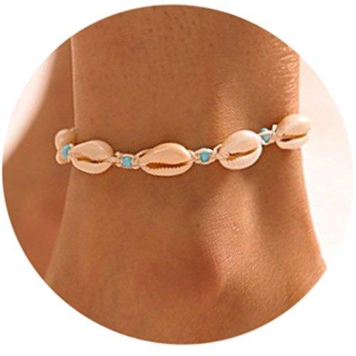 simsly Boho Fußkettchen Shell Beach Armbänder Woven Perlen Kette für Frauen und Mädchen jl-152