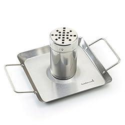 barbecook Ständer Halter Grill-Zubehör Hähnchen-Halterung matt mit Abtropf-Schale, Silber