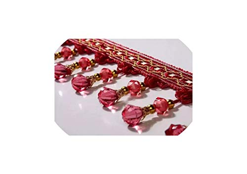 12Yard / Lot Vorhang-Spitze-Dekoration Spitzen Zubehör hängende Kugel-Kürbis-Perlen Dekorative, Jujube Red
