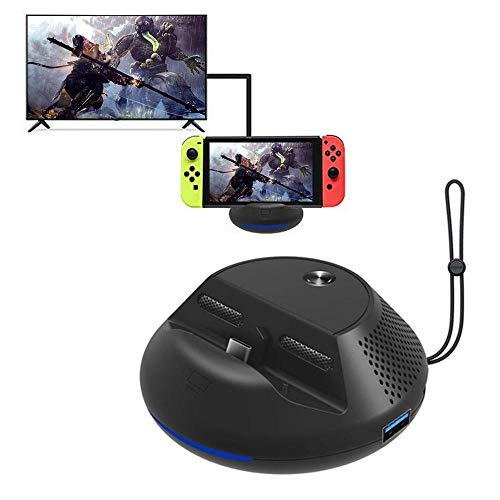 Base de TV portátil para Nintendo Switch, adaptador HDMI de viaje con 3 puertos USB, estación de carga de ventilador de refrigeración, conector de repuesto para Nintendo Switch