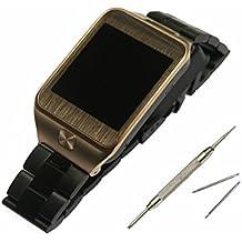 22mm de Metal de acero inoxidable reloj correa de la banda + herramienta para el Samsung Gear 2 R380 / Gear 2 Neo R381 / Gear Live R382 (negro -A)