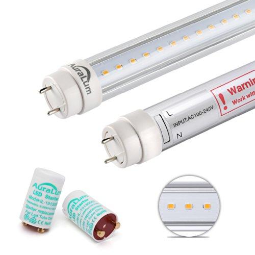 2er Auralum T8 LED Tubo Fluorescente 60cm 10W 2835*60LED 1085LM Blanco caliente(2800-3200k) 2 Años Garantía