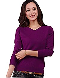 2f7eeacd2cc Aswinfon Pull Femme Laine Maille Col V Casual Manches Longues Hiver Chaud  Pullover Sweater Top Blouse