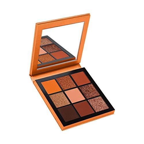 Cooljun 9 Couleurs scintillement Matte Fard à Paupières Palette Shimmer Maquillage Métallique Ombre à Paupières longue durée imperméable à l'eau (Orange)