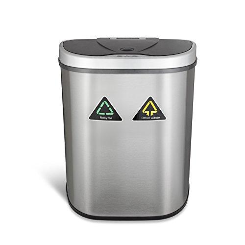 *Sensor Mülleimer 70 Liter 100% Edelstahl Automatik Abfalleimer Push Kücheneimer mit Mülltrennung 2 Fächer*