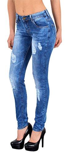ESRA Damen Skinny Jeans High Waist Hochbund Jeanshosen große Größen # S500