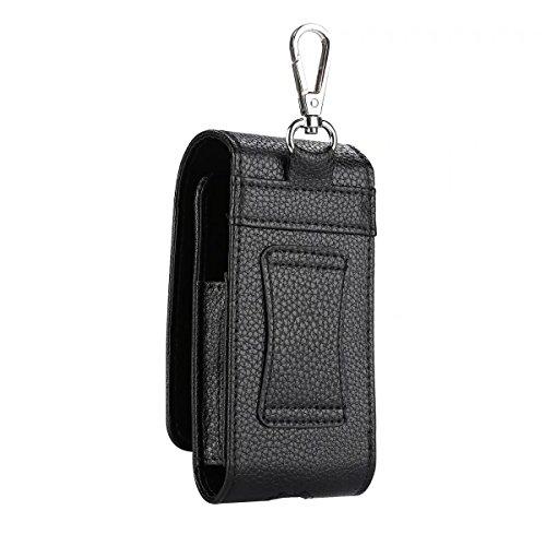 EKINHUI Case Cover Litchi Haut Textur Elektrische Zigarette PU Ledertasche Cover Portabler Tasche mit Gürtel Loop & Clip Haken für E-Zigarette ( Color : Black ) Black