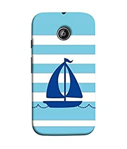 FUSON Designer Back Case Cover for Motorola Moto X2 :: Motorola Moto X (2nd Gen) (Waves Horizontal Strips Color Yacht Navy Ocean Sea )