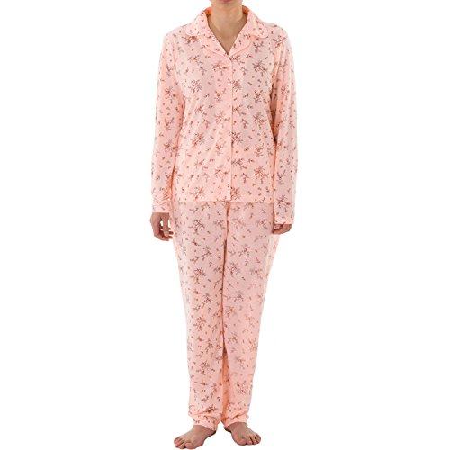 Lucky - Pyjama Set Damen Langarm Pyjama mit Druck und durchgehende Knopfleiste, Größe:L;Farbe:Apricot