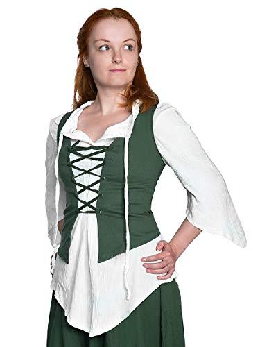 Andracor - Ungerade geschnittenes mittelalterliches Schnür-Mieder - Daphne - Farbe: Grün - Größe: XXL - Individuell einsetzbar für LARP, Mittelalter, Fantasy & Cosplay
