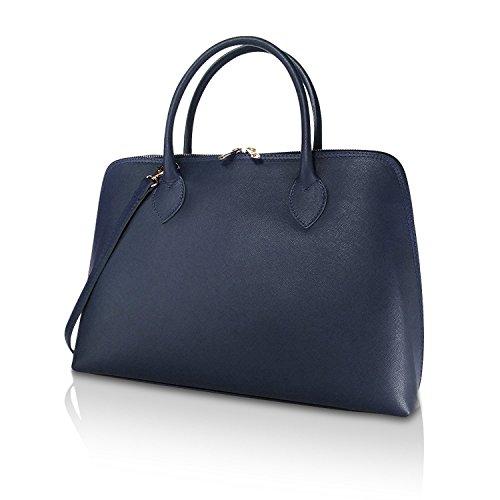 Glamexx24 Damen Umhängetaschen echt Leder Tasche Handtaschen business Bag Schultertaschen Shopper Made in Italy 1.004.5 Blau