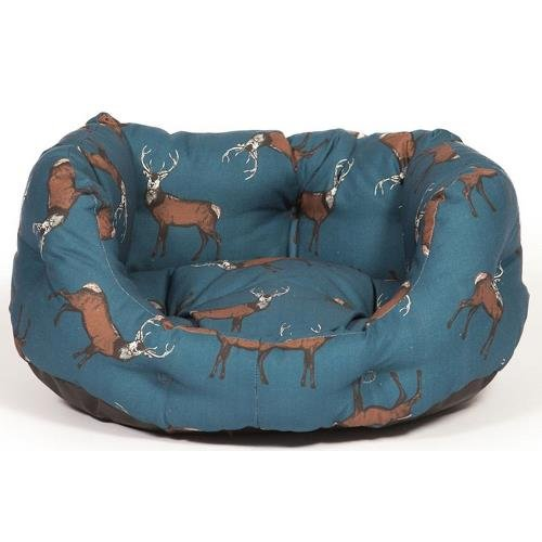Woodland Stag Deluxe Slumber Pet Bed in Midnight Blue Size: 31 cm H x 78 cm W x 62 cm D