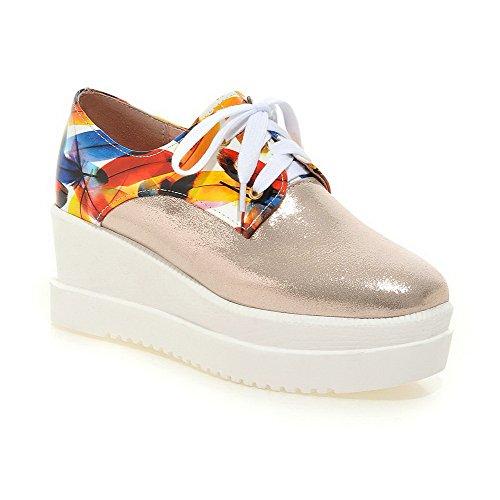 AllhqFashion Damen Mittler Absatz Gemischte Farbe Schnüren Quadratisch Zehe Pumps Schuhe Golden