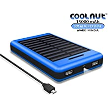 COOLNUT Exclusive Solar Power Bank 13000mAh for Mobile Apple iPhone5, 6, 6+, 6s, 6s+, Samsung, HTC, MI, Blackberry, Nokia, Moto, Asus, Lenovo, Xiaomi & all others Android and Smartphones