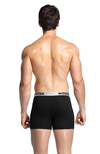 Wolfstar Herren Boxer Briefs, 3er Pack, Klassische Stretch herren Boxer Short Unterwäsche Schwarz