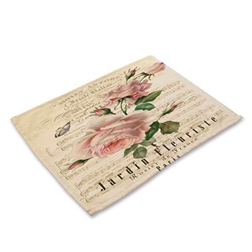 NoblePlacemat Einfacher Stil Tischsets,Vintage bemalte Pflanze Blume Baumwolle Leinen Stoff...