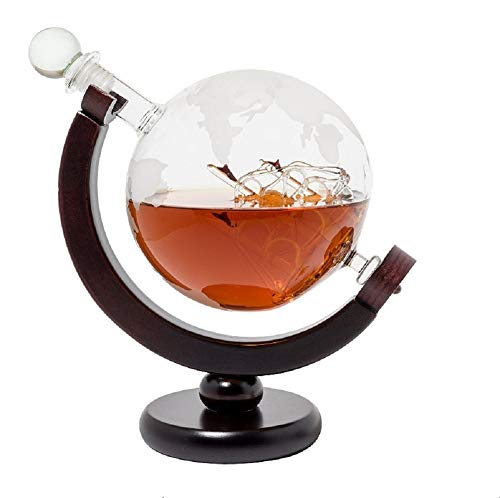 DELIBEST Globus Gläser Whisky Dekanter Set, Welt geätzt Globus Dekanter Antikes Schiff Glas...