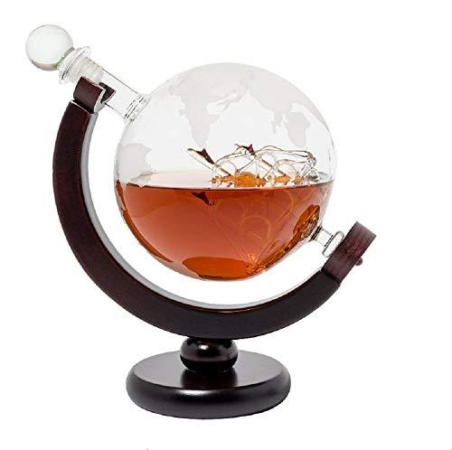 DELIBEST Gafas Globe Whisky Decantador Set, Decantador de Agua Grabado de Mundo Antiguo Tapón de Vidrio Dispensador de Licor Licores Scotch Bourbon Vodka Ron Vino Tequila Brandy 850 ML