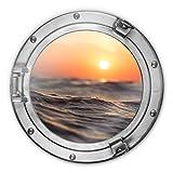 Glasbild rund 3D-Optik Bullauge Sonnenuntergang Meer Wasser Wellen romantisch Wall-Art Ø70 cm