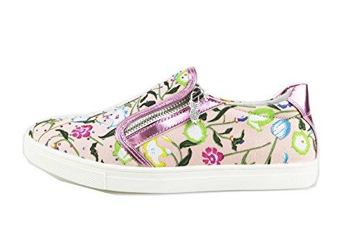 DIDI BLU sneakers bambina rosa / bianco pelle tela strass (39 EU, Rosa)