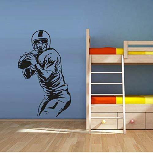 Fußballspieler Wandaufkleber Amerika Fußball Rugby Sport Helm Mann Ball Wandkunst Aufkleber Für Kinderzimmer Junge Schlafzimmer Wandbild 60x42