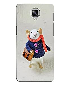 Citydreamz White Mouse/Rat/Cute Cartoon/Winters/Snowfall Hard Polycarbonate Designer Back Case Cover For OnePlus 3