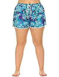 2d2625e5a93 IN VOLAND Women s Plus Size Causal Summer Floral Prited Beach Swim Shorts  Adjustable tie Buttoms