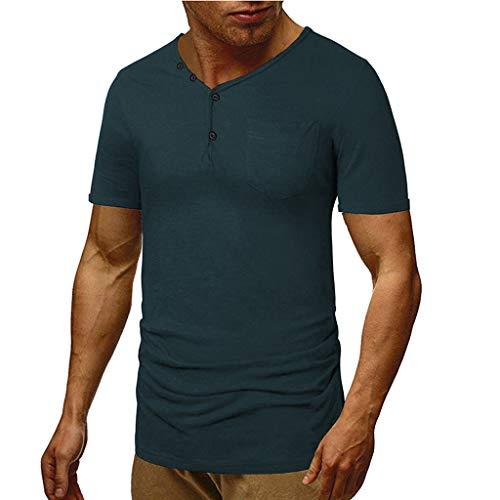 CICIYONER Einfach einfarbig Tshirts Herren Mode für den Sommer Selbstanbau V-Ausschnitt Kurzarm T-Shirt Bluse
