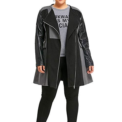 Lazzboy Womens Coat Parka Jacket Woolen Leather Patchwork Lapel Colour Block Overcoat Outerwear Oversize Plus Size