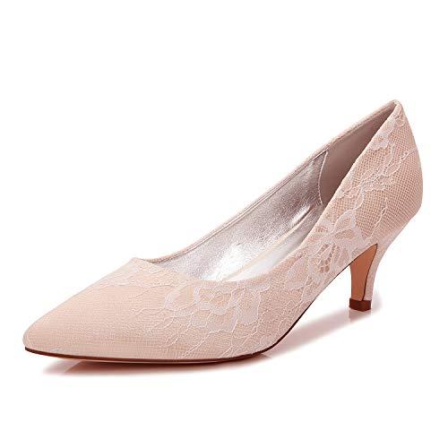 AIMISHOES Elegante Satin spitz Dame Pumps Braut Hochzeit Prom Abendkleid Schuhe Schuhe mit hohen absätzen,Champagner,38