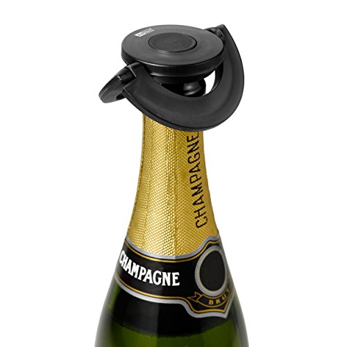 Ad Hoc FV31–Sekt- und Champagnerverschluss Gusto Schwarz, Kunststoff/Silikon, Ø 8,2cm)