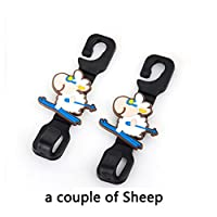 2 Pcs/1 Set Cute Funny Animal Car Vehicle Back Seat Hidden Hook, Universal Seat Headrest Hanger Holder Hook for Bag Purse Cloth Coat