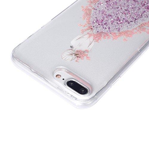 iPhone 7 Plus Hülle,iPhone 7 Plus Silikon Hülle Glitzer Tasche Handyhülle,SainCat iPhone 7 Plus Ultra dünne Silikon Hülle Engel Muster Schutzhülle Stern Bling Glitzer Durchsichtig Schutzhülle Stoßfest Echt blumen mädchen-Rosa
