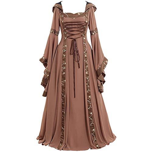 Piebo Damen Mittelalterliche Kleid Trompetenärmel Mittelalter Party Kostüm Maxikleid Kleid Gothic Viktorianischen Königin Kostüm Prinzessin Renaissance Bodenlänge Mehrfarbig Kleider mit Kapuze Gothic Kleid Kleider
