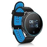 Garsent Fitness Smartwatch, Wireless Sports Wasserdichte Uhr mit Alarm, Schrittzähler, Herzfrequenz, Blutdruck, Kalorien und Schlaf Monitor Telefon Sportuhr für Damen und Herren(Schwarz und Blau)