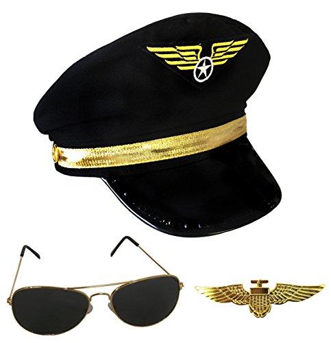 Aviator Pilot Satz Hut, Metall Anstecknadel & Sonnenbrille Kostüm Verkleidung Zubehör (Zubehör Kostüme Pilot)