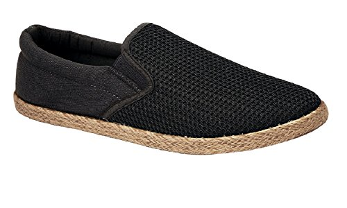 Mens Slip On Trainer Canvas Cork (Hessian) Sole Trim Twin Gusset Espadrille (UK 9, Black)