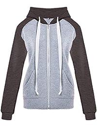 e7cf1c2c3f7c LEEDY Damen Kontrastreiche Farbe Kapuzenjacke, Mit Taschen Kapuze Jacke  Wintermantel, Große Größe Coat Outwear