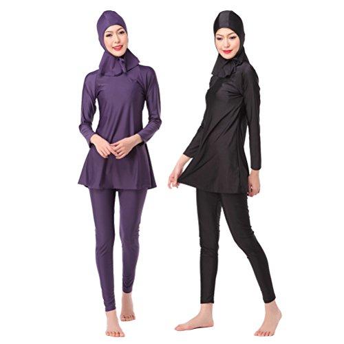 KEEN ZTQ New Women's Modest Swimsuits Black Purple Burkini Full Cover MuslimSwimsuitsfor Women