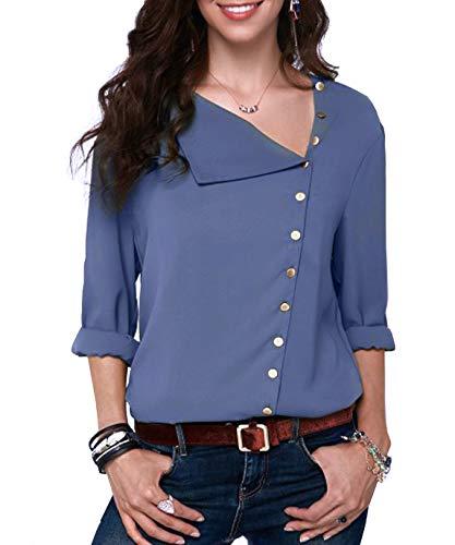 Junjunbag elegante camicetta da donna bottoni manica lungo blusa scollo tornito irregolare taglia l blu