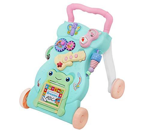 MALATEC Andador de bebé Interactivo - Rana Feliz empujador Tinta DE ROTULADOR BORRABLE + Tablero, Guitarra, TELÉFONO PEQUEÑO + Sonidos #7344