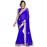 Mirchi Fashion Patch lavoro chiffon tradizionale indiano Saree per le