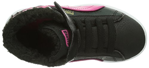 Puma First Round Fur V Kids, Baskets mode mixte enfant Noir (Black/Fuchsia Purple/Gold)
