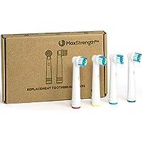 Juego de 12 cabezales de cepillo de dientes eléctrico de repuesto con anillos de Max Strength Pro, se adapta a.